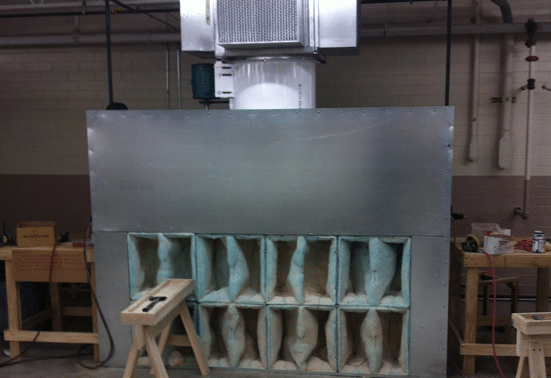 Spray Booth with Filters Installed